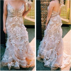 White and Beige Jovani prom dress